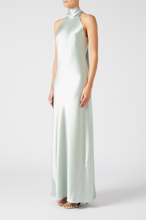 High-halterneck silk dress in pale mint shade
