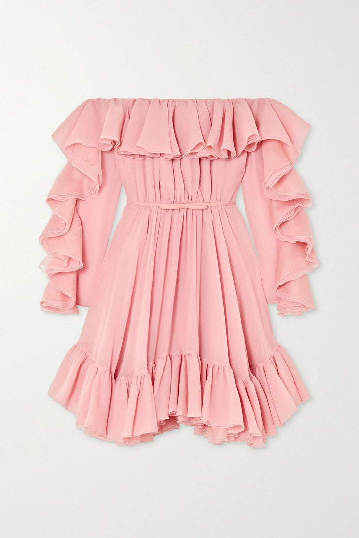 Off-the-shoulder ruffled dress