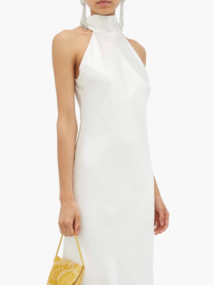 High-halterneck silk dress in White