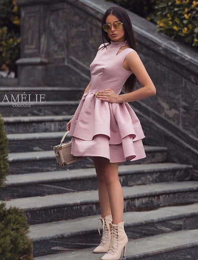 High neck pink Demi dress