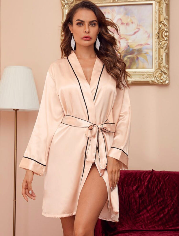 Contrast Binding Satin Belted Robe - Amelie Baku Couture