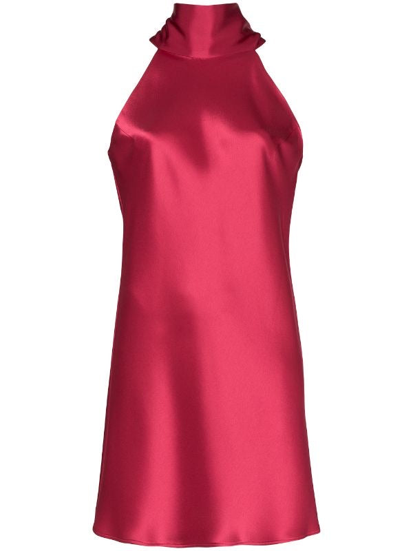 Raspberry Tie-neck satin mini dress