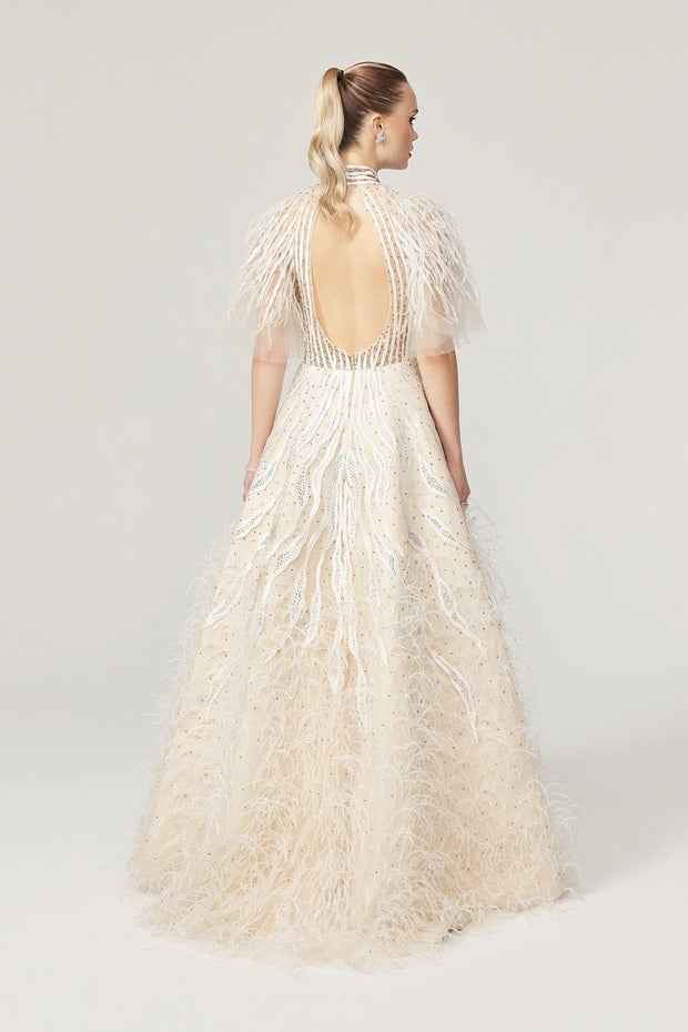 Milla Off-White  Feather Gown SS21 Collection