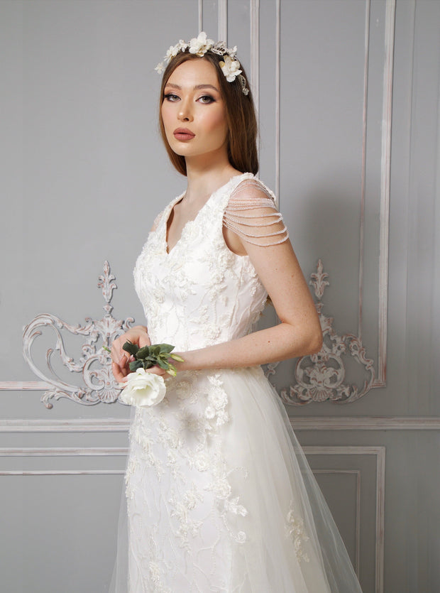 Aria Ethereal Flower Bridal with Handmade Beaded Lace - Amelie Baku Couture