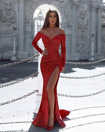 Ciara deep slit red dress