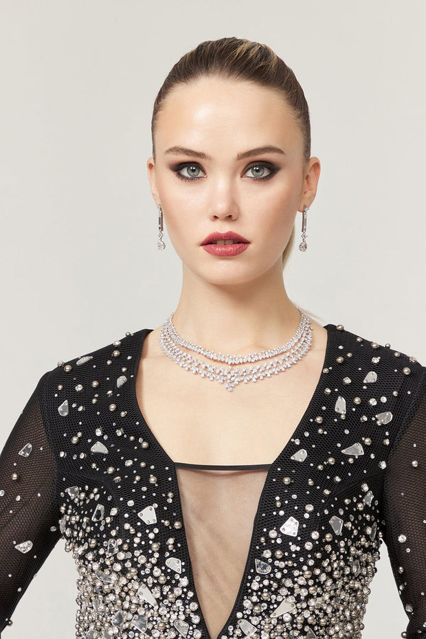 Glamour Style Luxury Diamond Necklace &Earring - Amelie Baku Couture