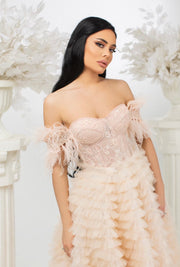 Dantel Corset Feather Neckline Off Shoulder Gown - Amelie Baku Couture