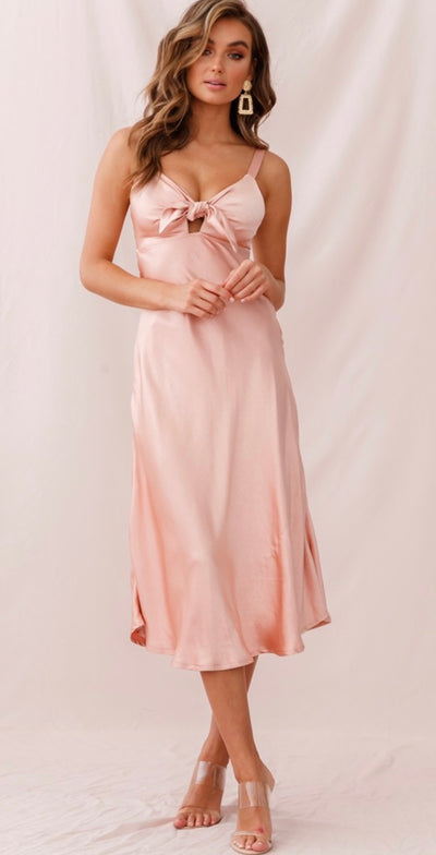 Satin Midi Dress in Blush