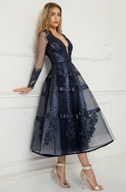 Alina Tea Length Plunging Sequined Tulle Dress