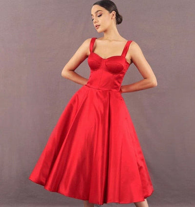 Tea length midi red Ren dress