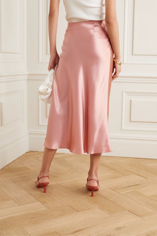 Pink Rose Silk midi skirt from Bloom Collection