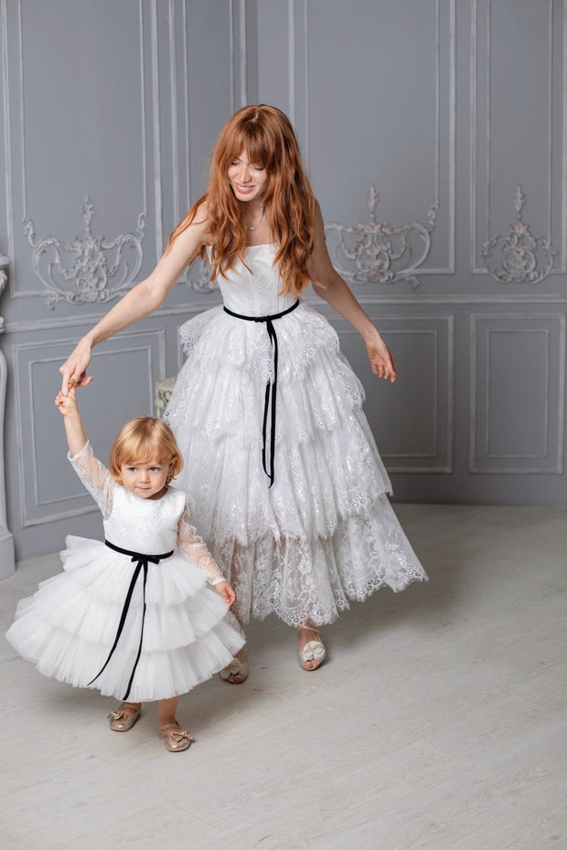 Alice White Lace Long Sleeve Dress for Girls - Amelie Baku Couture