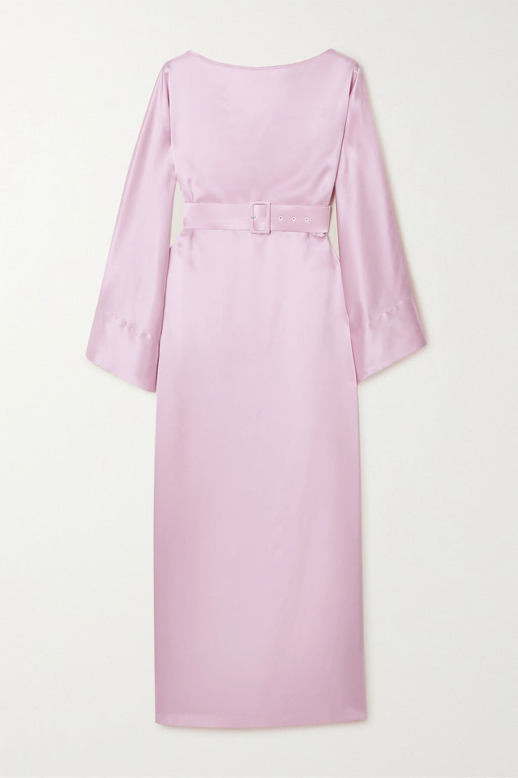 Belted silk-satin midi dress