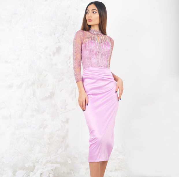 Ruth high neck handmade pink dress