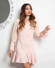 Long sleeve midi dress in Pink