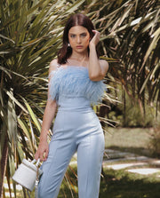 Strapless Jumpsuit with Feathers in Blue - Amelie Baku Couture