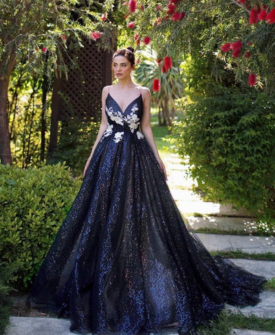 Wren Black Sparkle Gown - Amelie Baku Couture