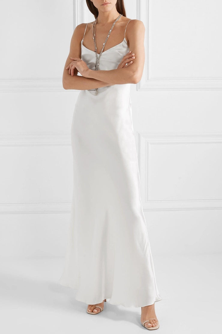 Bianca Maxi Silk-satin dress in White - Amelie Baku Couture