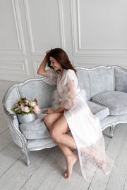 Light pink lace details robe - Amelie Baku Couture