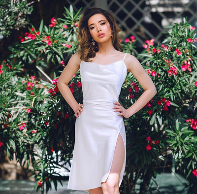 Silk midi dress in White with slit