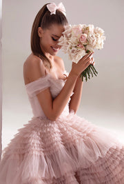 Ruffled Glamorous Pink Gown