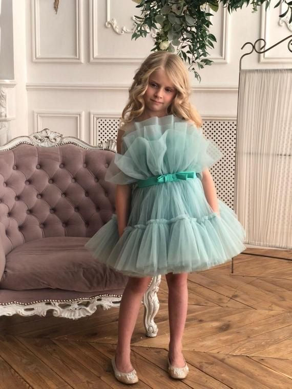Tulle gown for girl in Mint - Amelie Baku Couture