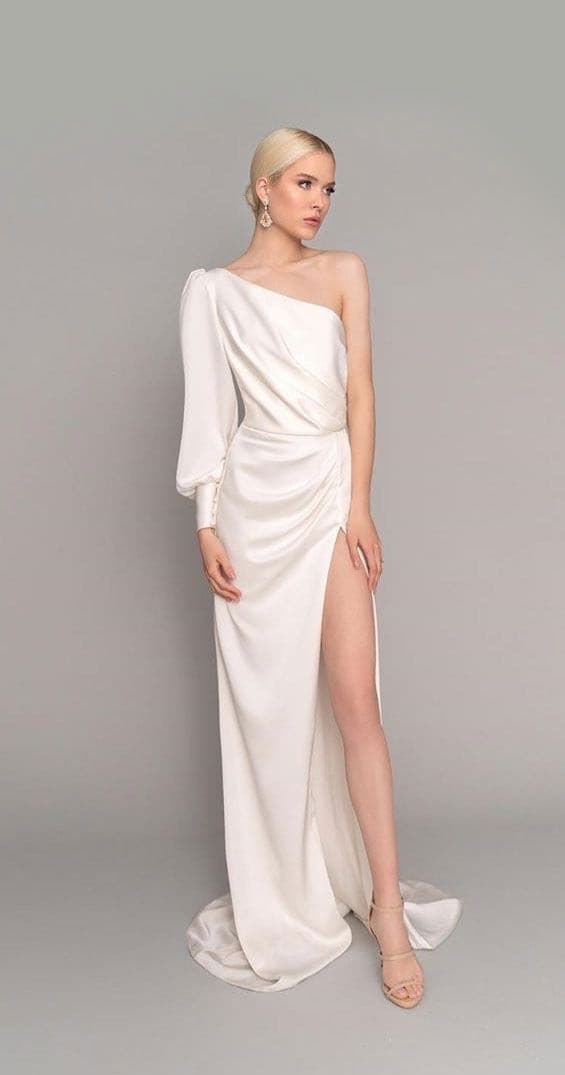 Lynda one sleeve white dress