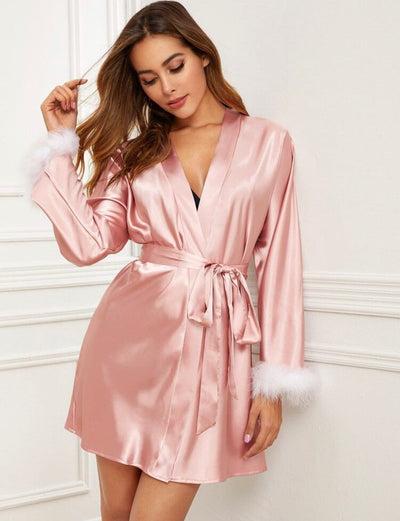 Contrast Feather Cuff Belted Satin Robe - Amelie Baku Couture
