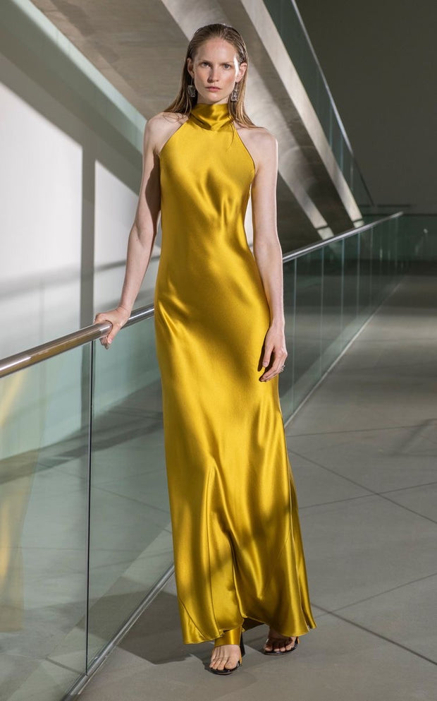 High-halterneck silk dress in Mustard shade