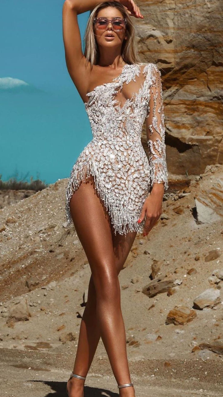 Nude Embellished One Sleeved Dress