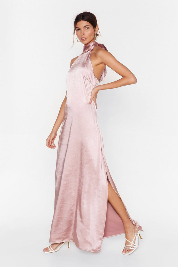 Satin Halter Dress from Bloom collection - Amelie Baku Couture