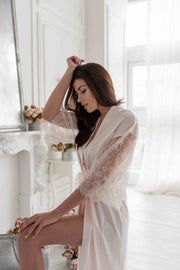 Light pink lace details robe
