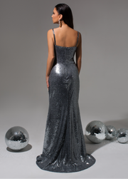 Billie Silver Sequin Gown