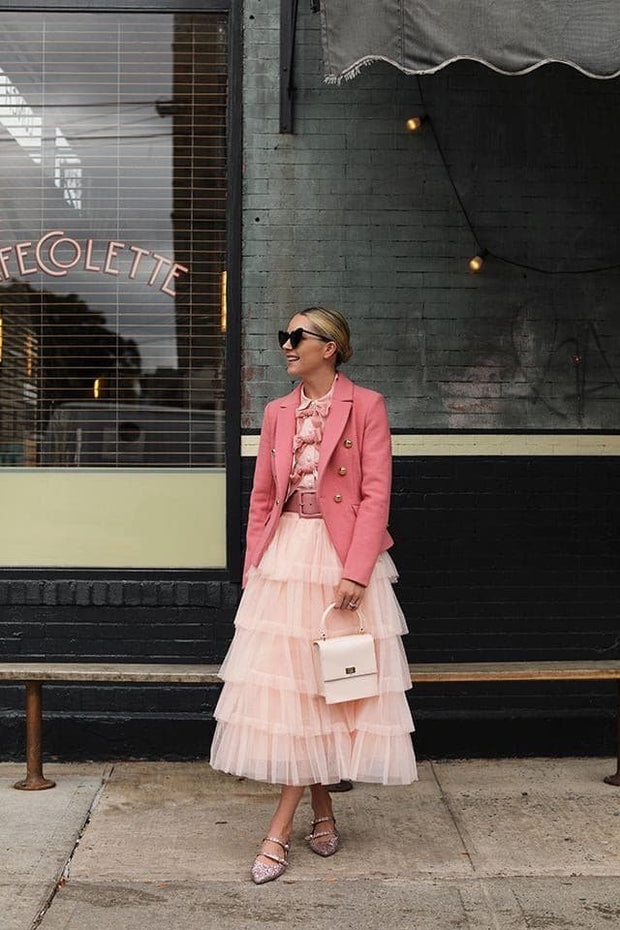 Tulle Layered Skirt in Pink - Amelie Baku Couture