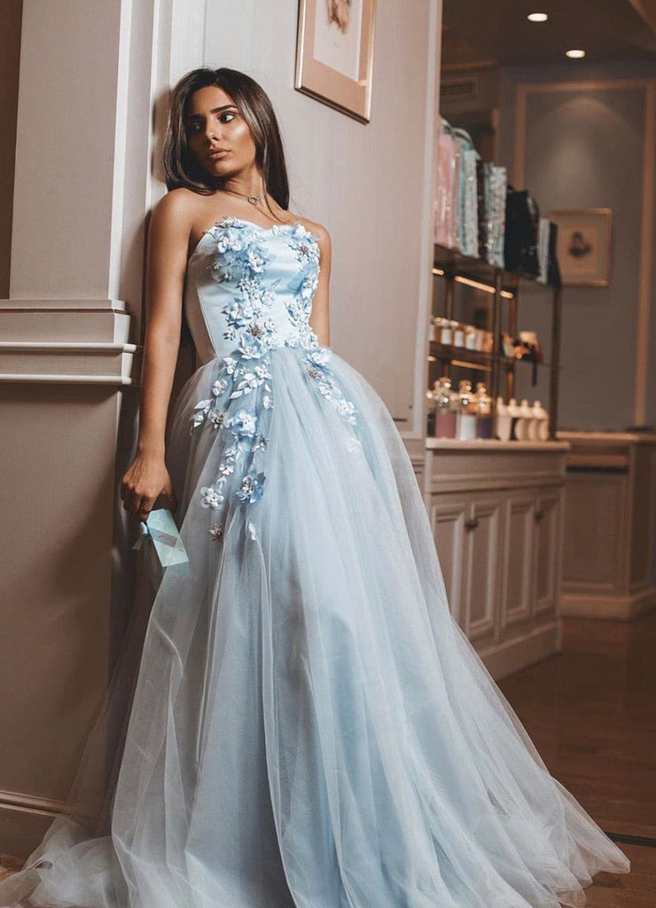 Clara gown-3D flowers sky blue -by Amelie