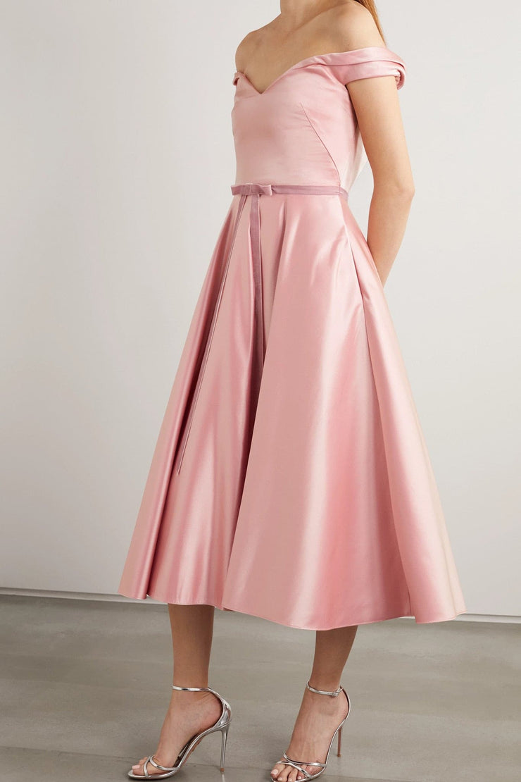 Off-the-shoulder velvet-trimmed satin midi dress