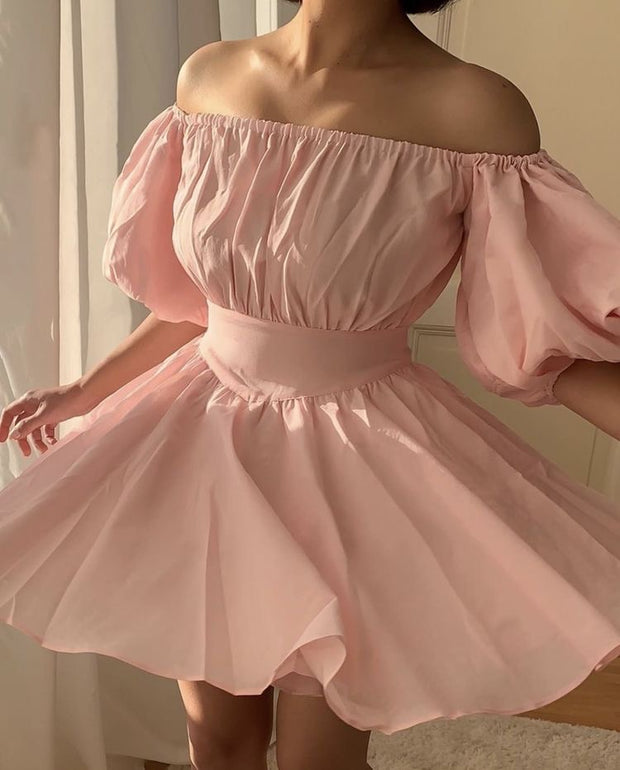 Pink off shoulder mini dress from bloom collection