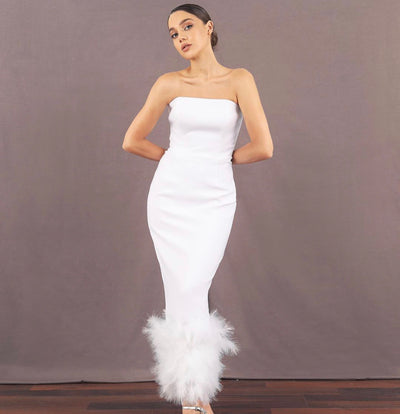 Strapless feather-trimmed midi dress