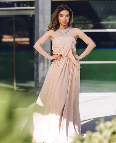 Straight across beige Willow dress - Amelie Baku Couture