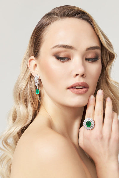 Marcella Diamond Earring & Ring - Amelie Baku Couture