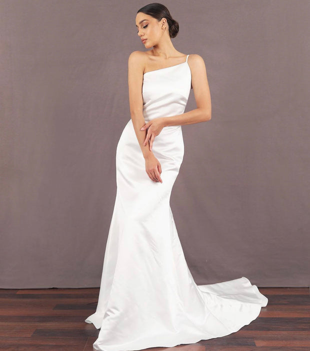 One-shoulder floor length White Dress