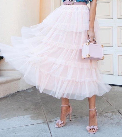 Tulle Layered Skirt in Pink