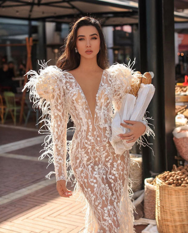 Embroidery Flowers&Feathers Mermaid Bridal - Amelie Baku Couture