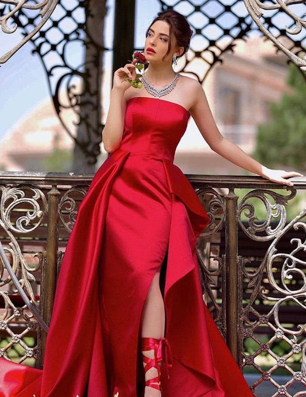 Emily detachable red sheath dress