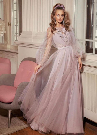 Romantic tulle evening  dress
