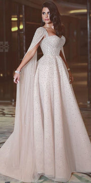 Chiffon Sleeve Crystal Detailed Dress
