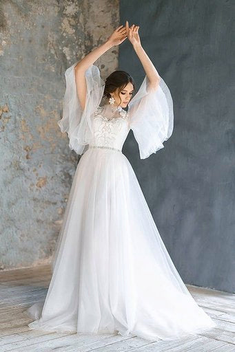 Tulle and Floral Bridal Gown - Amelie Baku Couture