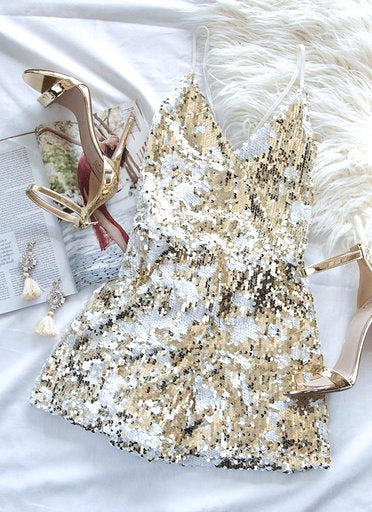 Gold Embellished Sequin Disc Slip Dress