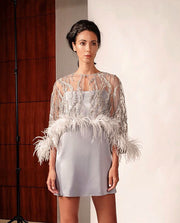 Lace And Sequin Embroidered Tulle Cocktail With Ostrich Feather