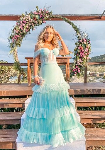 Off-the-shoulder A-line gown